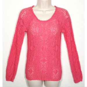 FREE PEOPLE Top Blouse Sheer Floral Lace 1568E2